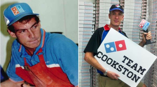Rob Cookston. Picture on the left is Rob 30 years ago as a Domino's delivery driver. Picture on the right is Rob today as a franchisee of 18 Domino's locations.